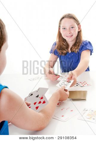 Kids playing game of cards