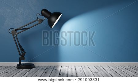 Black Desk Lamp On Wooden Floor Illuminating An Empty Blue Plastered Wall With Copy Space 3d Illustr