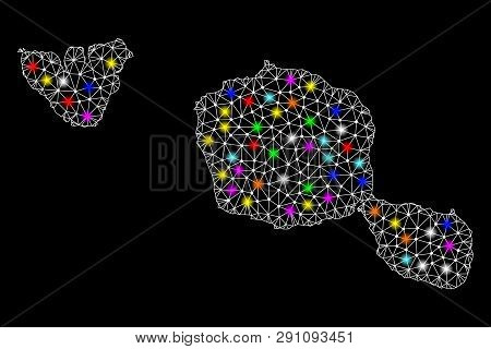 Polygonal Vector Map Of Tahiti And Moorea Islands With Glow Effect On A Black Background. Abstract T