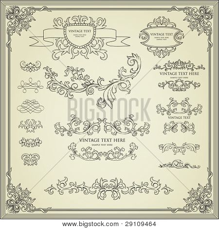 Collection of calligraphy design elements. Frames, page deviders, borders, etc