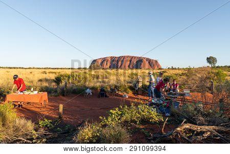 25th December 2018, Sydney Nsw Australia : People Setting Dinner Bbq Buffet Tables At Uluru Sunset V