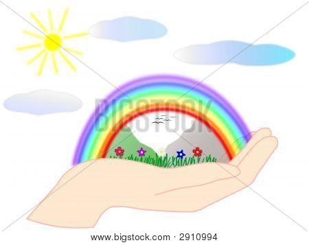 Hand And Rainbow