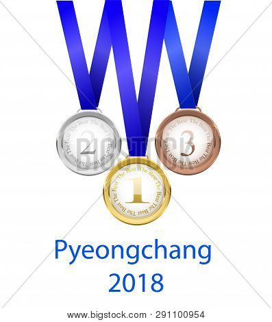 Three Medals. Gold. Silver And Bronze Vector Illustration. Realistic Beautyfull Vector Illustration.