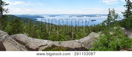 Summer Panorama View Over The Lake Pielinen From The Top Of The Ukko-koli, A Fell At The Koli Nation
