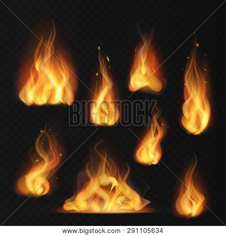 Realistic Flame. Fireball Warm Fire Effect Abstract Torch Red Flames Flaming Isolated Vector Collect
