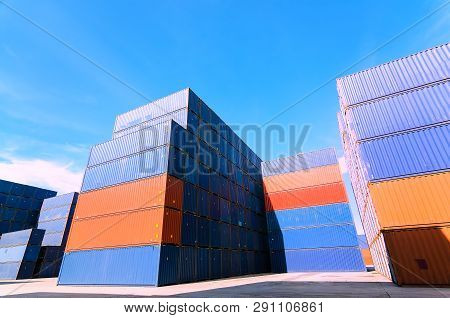 Container Box Loading At Yard,container Handling. Container Truck Picking Up Container At Yard. Port