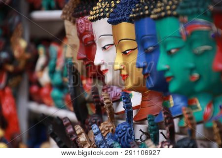 Thamel Kathmandu City, Nepal.colorful Tradition Wooden Masks And Handicrafts On Sale At Shop In The