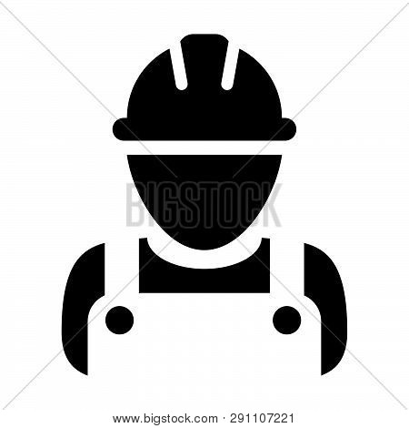 Industry Worker Icon Vector Male Construction Service Person Profile Avatar With Hardhat Helmet And