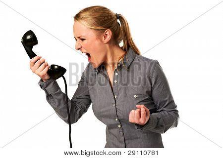 Business-Frau schreien an Telefon