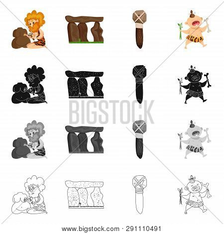 Vector illustration of evolution  and prehistory sign. Collection of evolution  and development  stock vector illustration. poster