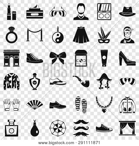 Vogue Icons Set. Simple Style Of 36 Vogue Vector Icons For Web For Any Design