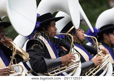 Washington, D.c., Usa - May 28, 2018: The National Memorial Day Parade, Members Of The Musketeer Mar