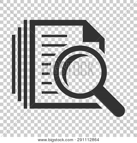 Scrutiny Document Plan Icon In Flat Style. Review Statement Vector Illustration On Isolated Backgrou