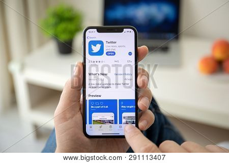 Alushta, Russia - July 29, 2018: Man Hand Holding Iphone X With Social Networking Service Twitter On
