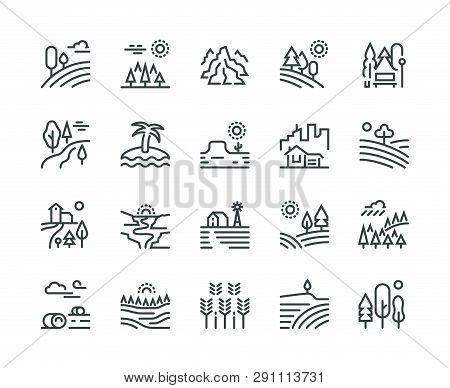 Landscape Line Icons. Nature Park Mountain Hill Forest Trees And Countryside Garden, Industrial Mega