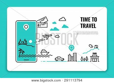 Tourism Line Concept. Travel Destination Summer Vacation Traveling Agency Hotel Website Airplane Rou