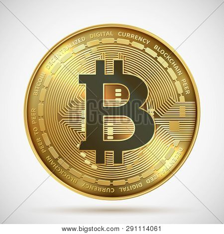 Bitcoin Coin. Cryptocurrency Golden Money Digital Blockchain Symbol Isolated On White. Vector Crypto