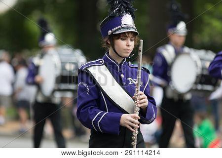 Washington, D.c., Usa - May 28, 2018: The National Memorial Day Parade, The Northern Guilford High S