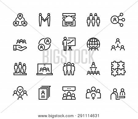 Team Work Line Icons. Business Person Group Work Human Support Teamwork Leadership Working Together.