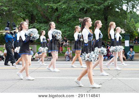 Washington, D.c., Usa - May 28, 2018: The National Memorial Day Parade, The Olathe Northwest High Sc