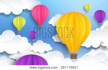 Paper Cut Balloons. Sky Pastel Background, Cute Origami Cartoon Graphic, Flight Voyage Concept. Vect