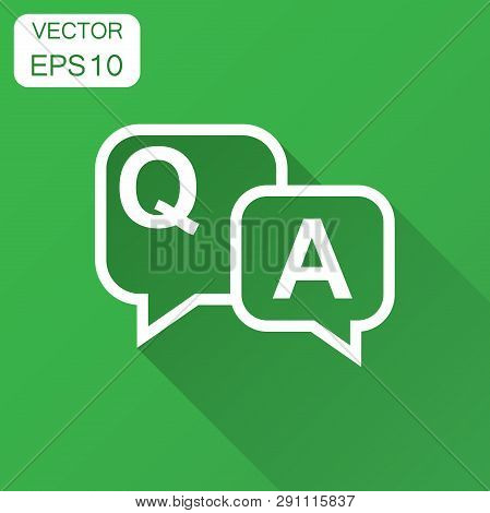 Question And Answer Icon In Flat Style. Discussion Speech Bubble Vector Illustration With Long Shado