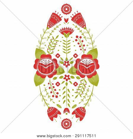 Stylized Pattern, Folk Art, Floral Ornament In Red And Green Colors. Symmetrical Pattern Vector Back