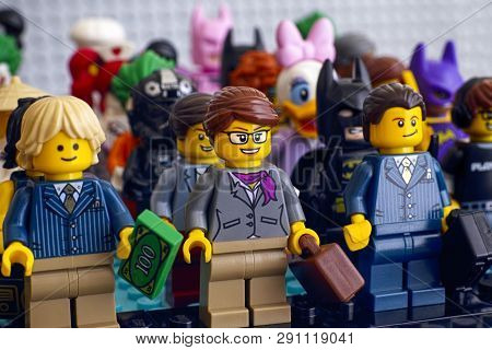 Tambov, Russian Federation - February 05, 2018 Lego Minifigures Standing In Rows. Businesswoman And