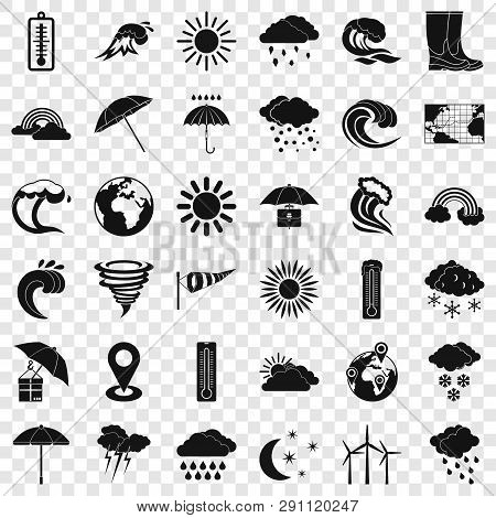 Weather Icons Set. Simple Style Of 36 Weather Vector Icons For Web For Any Design