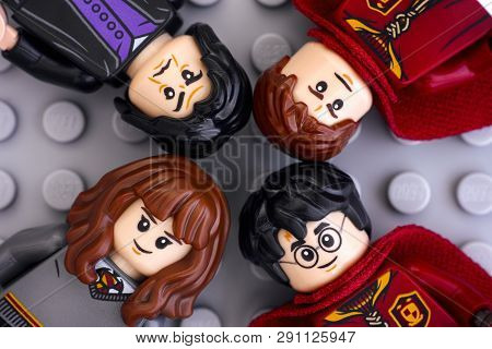 Tambov, Russian Federation - January 06, 2019 Four Lego Harry Potter Minifigures - Harry Potter, Her