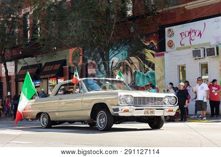 Chicago, Illinois, Usa - September 15, 2018: Pilsen Mexican Independence Day Parade, Chevrolet, Impa