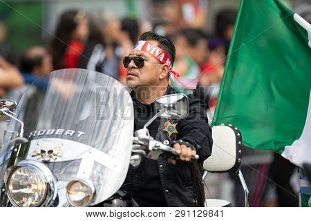 Chicago, Illinois , Usa - September 9, 2018 The 26th Street Mexican Independence Parade, Man Riding