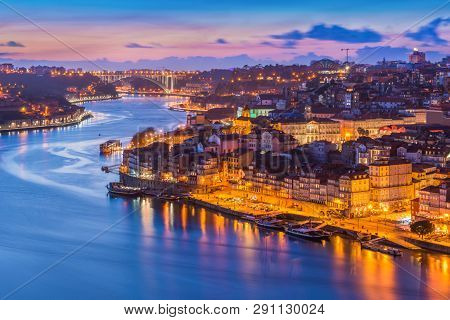 Beautiful Evening Cityscape Of Porto (oporto), Portugal