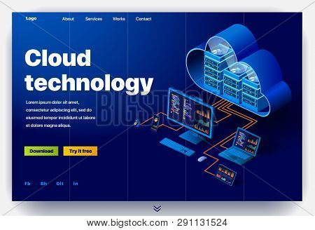 Cloud Technology Website. Concept Of A Landing Page For Data Center. Website Providing The Service O