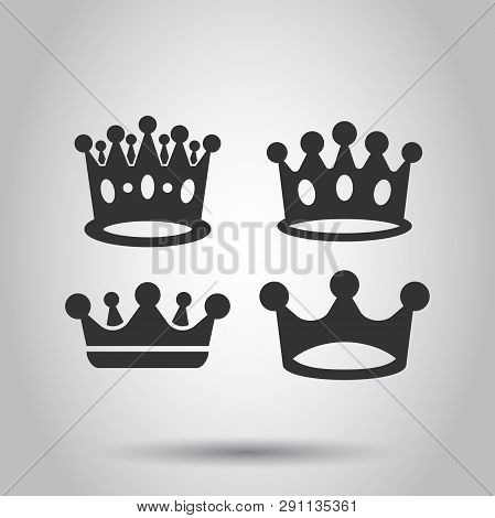 Crown diadem vector icon set in flat style. Royalty crown illustration on white background. King, princess royalty concept. poster