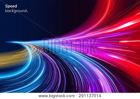 Abstract Colorful Speed Background With Lines In Shape Of Track Turn. Geometric And Dynamic, Trendy
