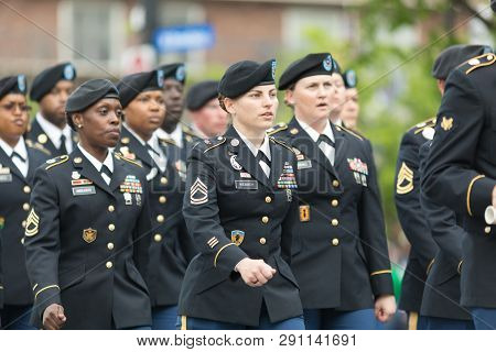 Louisville, Kentucky, Usa - May 03, 2018: The Pegasus Parade, United States Army Troop, Marching Dow