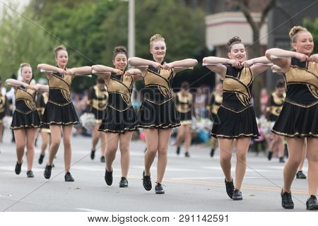 Louisville, Kentucky, Usa - May 03, 2018: The Pegasus Parade, Members Of The North Allegheny High Sc