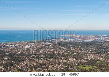 Aerial Landscape Of Coastal Town Of Wollongong. Popular Tourist Destination In Australia