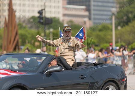 Chicago, Illinois, Usa - June 16, 2018: The Puerto Rican Day Parade, Puerto Rican Korea War Veteran