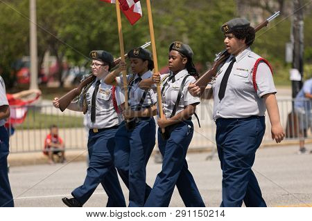 Chicago, Illinois, Usa - June 16, 2018: The Puerto Rican Day Parade, Members Of The Roberto Clemente