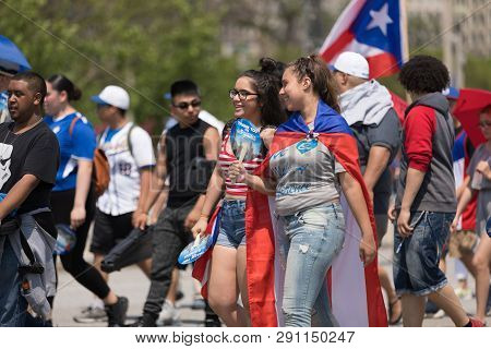 Chicago, Illinois, Usa - June 16, 2018: The Puerto Rican Day Parade, Puerto Rican People Celebrating