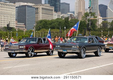 Chicago, Illinois, Usa - June 16, 2018: The Puerto Rican Day Parade, Cars Donk Modified Carrying Pue