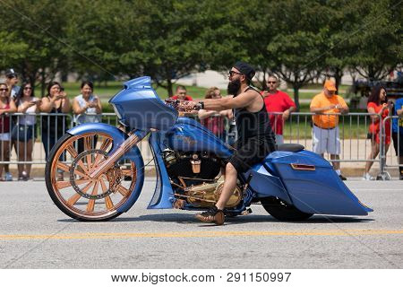 Chicago, Illinois, Usa - June 16, 2018: The Puerto Rican Day Parade, Puerto Rican Bikers Riding Cust