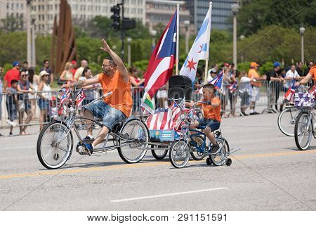 Chicago, Illinois, Usa - June 16, 2018: The Puerto Rican Day Parade, Members Of The Classic Cruisers