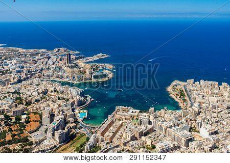 Malta Aerial View. St. Julian's Or San Giljan, And Tas-sliema Cities. St. Julian's Bay, Balluta Bay,