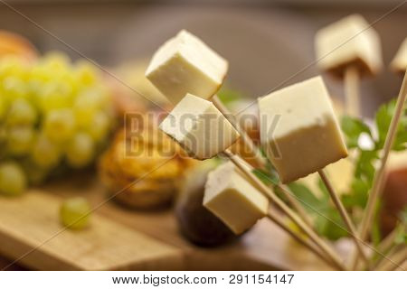 Traditional Italian Smoked Cheese, Traditional Polish Smoked Cheese, Chechil Cheese On The Wood Back