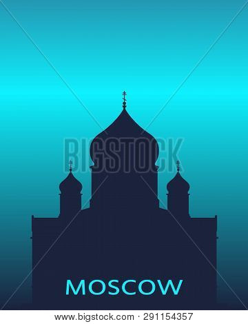 Cathedral Of Christ The Savior In Moscow. Simple Silhouette