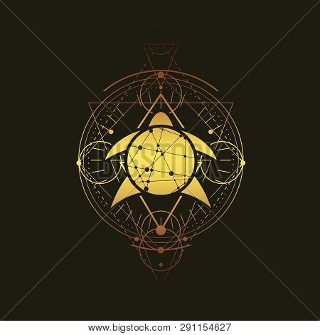Mystical Geometry Symbol. Linear Alchemy, Occult, Philosophical Sign. Low Poly Turtle Icon. For Musi