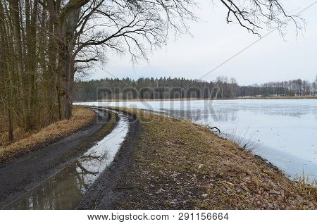 Winter Ponds In The Countryside Of South Bohemia, Czech Republic